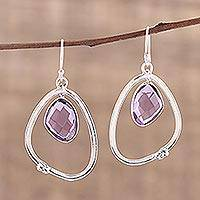 Amethyst dangle earrings, 'Pretty Abstraction' - Abstract Sterling Silver Earrings with 10 Carats Amethyst