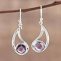 Amethyst dangle earrings, 'Twilight Charm' - Amethyst Dangle Earrings with Sterling Hooks