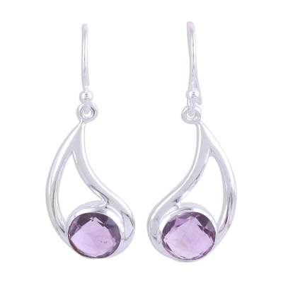 Amethyst dangle earrings, 'Twilight Charm' - Amethyst Dangle Earrings with Sterling Hooks