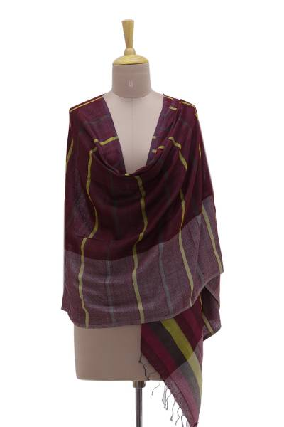 Silk shawl, 'Sumptuous Stripes' - Handwoven Magenta Striped 100% Silk Shawl from India