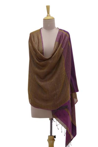 Silk shawl, 'Kalinga Mystique' - Handwoven Golden Brown Striped 100% Silk Shawl from India