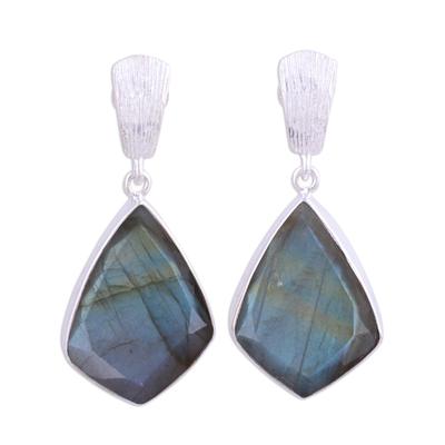 Labradorite dangle earrings, 'Dark Romance' - 34 Carat Labradorite and Sterling Silver Post Earrings
