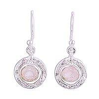 Rose quartz dangle earrings, 'Dawning Charm' - Rose Quartz Earrings in Textured Sterling Silver