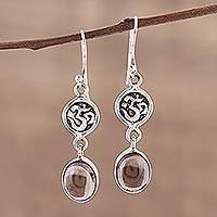 Smoky quartz dangle earrings, 'Healing Om' - Om Symbol Earrings with Smoky Quartz Cabochons