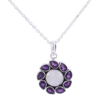 Amethyst and rainbow moonstone pendant necklace, 'Floral Windmill' - Amethyst and Rainbow Moonstone Pendant Necklace from India
