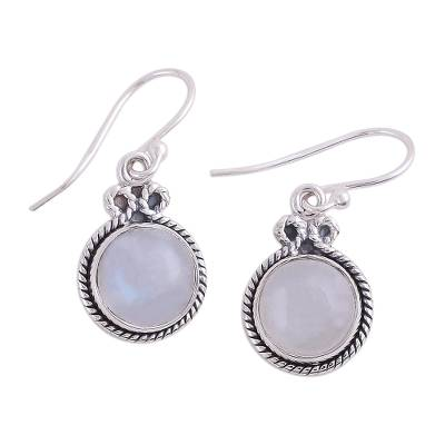 Rainbow Moonstone and Silver Dangle Earrings from India