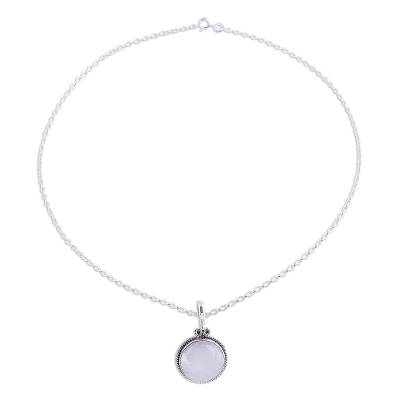 Rainbow Moonstone and Silver Pendant Necklace from India