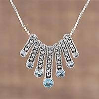 Blue topaz pendant necklace, 'Wonderful Shine' - Blue Topaz Multi-Pendant Necklace from India