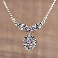 Amethyst pendant necklace, 'Purple Wings' - Faceted Amethyst and Silver Pendant Necklace from India