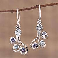 Blue topaz and iolite dangle earrings, 'Colorful Shower' - Blue Topaz and Iolite Dangle Earrings from India