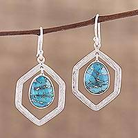 Sterling silver dangle earrings, 'Frozen Pond' - Sterling Silver and Composite Turquoise Earrings from India