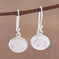 Rainbow moonstone dangle earrings, 'Light Aurora' - Rainbow Moonstone Cabochon and Silver Earrings
