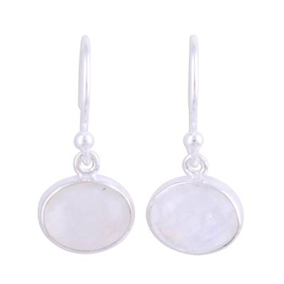 Rainbow Moonstone Cabochon and Silver Earrings