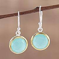 Gold accent chalcedony dangle earrings, 'Dewy Glade' - Aqua Chalcedony Earrings with 18k Gold Accents