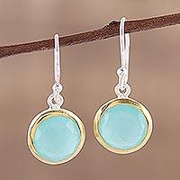 Gold accent chalcedony dangle earrings, 'Dewy Glade' - Aqua Chalcedony Earrings with 18k Gold Accents