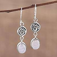 Rainbow moonstone dangle earrings, 'Healing Om'