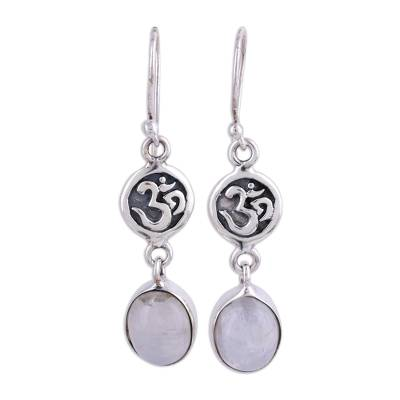 Rainbow moonstone dangle earrings, 'Healing Om' - Om Symbol Earrings with Rainbow Moonstone
