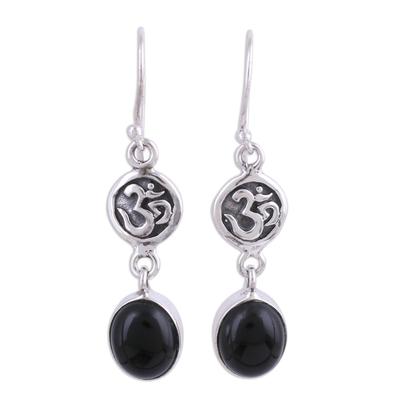 Onyx dangle earrings, 'Healing Om' - Black Onyx Om Symbol Earrings from India