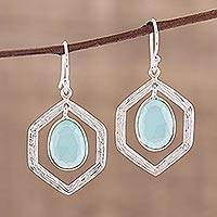 Chalcedony dangle earrings, 'Frozen Dew' - Blue Chalcedony and Sterling Silver Dangle Earrings