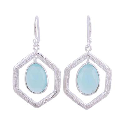 Chalcedony dangle earrings, 'Frozen Dew' - Blue Chalcedony and Sterling Silver Dangle Earrings