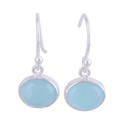 Chalcedony dangle earrings, 'Aqua Aurora' - Aqua Blue Chalcedony and Silver Dangle Earrings