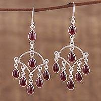Garnet chandelier earrings, 'Majestic Raindrops'