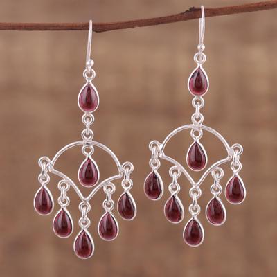 Novica Garnet chandelier earrings, Majestic Cascade