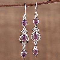 Amethyst dangle earrings, 'Mellow Drops' - Amethyst Link Dangle Earrings from India