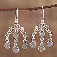 Labradorite chandelier earrings, 'Wonderful Cascade' - Natural Labradorite Chandelier Earrings from India