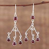 Garnet chandelier earrings, 'Mystic Swing' - Red Garnet Chandelier Earrings from India