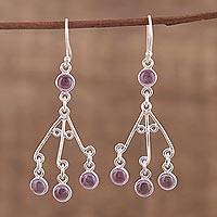 Amethyst chandelier earrings, 'Mystic Swing' - Purple Amethyst Chandelier Earrings from India