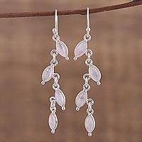 Rainbow moonstone dangle earrings, 'Fascinating Leaves' - Rainbow Moonstone Linked Dangle Earrings from India