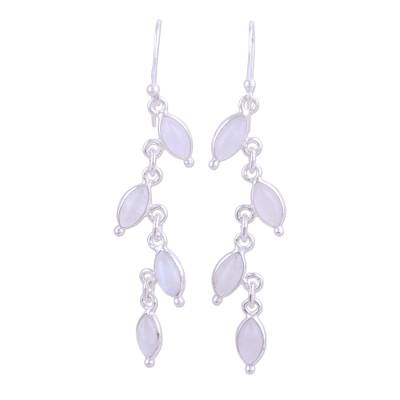 Rainbow Moonstone Linked Dangle Earrings from India