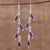 Amethyst dangle earrings, 'Fascinating Leaves' - Amethyst and Silver Linked Dangle Earrings from India