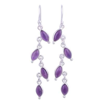 Amethyst and Silver Linked Dangle Earrings from India