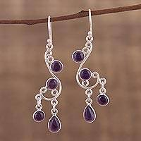 Amethyst chandelier earrings, 'Windy Dance' - Amethyst and Silver Swirling Chandelier Earrings from India