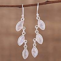 Rainbow moonstone dangle earrings, 'Frosty Trail' - Rainbow Moonstone Long Dangle Earrings with Sterling Silver