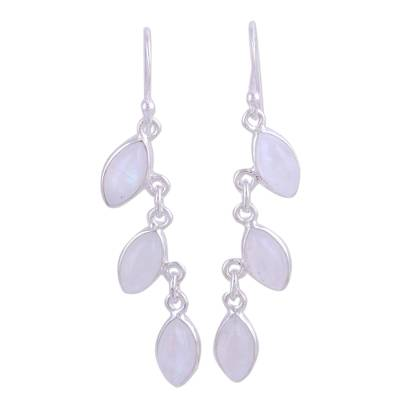 Rainbow Moonstone Long Dangle Earrings with Sterling Silver