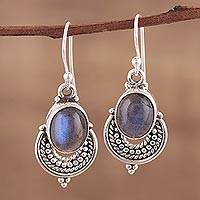 Labradorite dangle earrings, 'Jaipur Odyssey' - Indian Style Labradorite and Sterling Silver Dangle Earrings