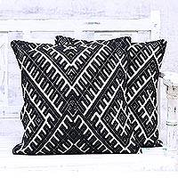 Cotton blend cushion covers, 'Eccentric Twist' (pair) - Black and Ivory Cotton Blend Cushion Covers (Pair)
