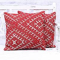 Cotton blend cushion covers, 'Eccentric Flair' (pair) - Red and Ivory Cotton Blend Cushion Covers (Pair)
