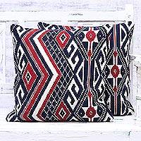 Cotton blend cushion covers, 'Ornate Crimson' (pair) - Artisan Designed Ornate Crimson Cushion Covers (Pair)