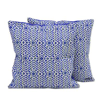 Cotton blend cushion covers, 'Indigo Ocean' (pair) - Blue and Ivory Cotton Blend Cushion Covers (Pair)