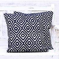 Cotton blend cushion covers, 'Diamonds at Midnight' (pair) - Navy and White Cotton Blend Cushion Covers (Pair)