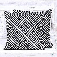 Cotton blend cushion covers, 'Greek Key' (pair) - Blue and White Geometric Cotton Blend Cushion Covers (Pair)