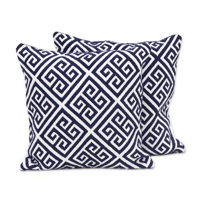 Unicef Market Blue And White Geometric Cotton Blend Cushion Covers Pair Greek Key