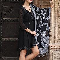 Wool jamawar shawl, 'Alluring Lapis' - Artisan Handmade 100% Wool Reversible Floral Shawl India