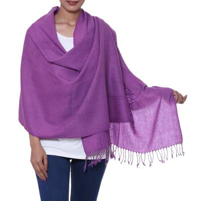 Wool shawl, 'Amethyst Fascination' - Artisan Crafted Soft Purple Woven Wool Shawl with Fringe