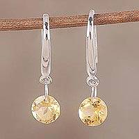 Citrine dangle earrings, 'Golden Ardor' - Citrine Rhodium Plated Sterling Silver Dangle Earrings