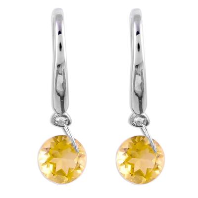 Citrine Rhodium Plated Sterling Silver Dangle Earrings